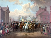 Revolution Drawings Posters - General Washington Enters New York Poster by War Is Hell Store