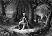 Military Hero Drawings Prints - General Washington Praying At Valley Forge Print by War Is Hell Store