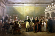 American Revolution Painting Framed Prints - General Washington Resigning His Commission Framed Print by War Is Hell Store