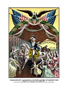 Revolutionary War Mixed Media Metal Prints - General Washingtons Reception At Trenton Metal Print by War Is Hell Store