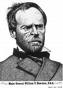 Pen Drawings Originals - General William Tecumseh Sherman by Bruce Kay