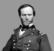 Civil War Digital Art Posters - General William Tecumseh Sherman Poster by War Is Hell Store