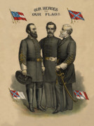 Confederate States Of America Posters - Generals Jackson Beauregard and Lee Poster by War Is Hell Store