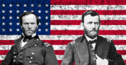 Civil War Digital Art Posters - Generals Sherman and Grant  Poster by War Is Hell Store