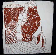 Africaceramics Ceramics Prints - Generations - tile Print by Gloria Ssali