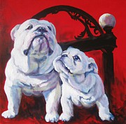 English Bulldog Paintings - Generations of UGA by Pat Burns
