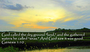 Bible Verse Canvas Art Prints Prints - Genesis Land and Seas Print by Sheri McLeroy