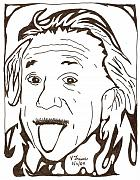 Yonatan Drawings - Genius Maze of Albert Einstein by Yonatan Frimer Maze Artist