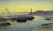 Low Tide Paintings - Genoa by John MacWhirter