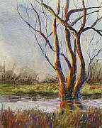 Winter-landscape Pastels - Gentle Creek by Christine Kane