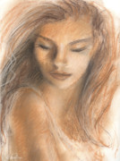 Sepia Drawings Prints - Gentle Woman portrait Print by Svetlana Novikova