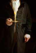 Candle Lit Prints - Gentleman in Vintage Clothing Holding a Candlestick Print by Jill Battaglia