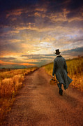 Period Posters - Gentleman Walking on Rural Road Poster by Jill Battaglia