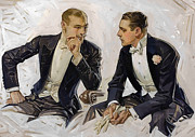 Portrait Vintage 1911 Agreement Sitting Chair Paintings - Gentlemen Agreement by Stefan Kuhn
