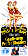 1950s Movies Framed Prints - Gentlemen Prefer Blondes, Jane Russell Framed Print by Everett