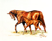 Jockey Paintings - Genuine Risk and Foal by Thomas Allen Pauly