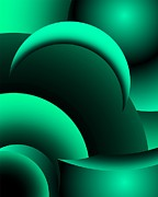 Geometric Abstract In Green Print by David Lane