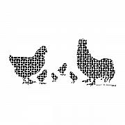 Artists Drawings Prints - Geometric Chickens Print by Karl Addison