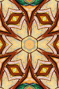 Orange Ceramics Metal Prints - Geometric Stained Glass Abstract Metal Print by Linda Phelps
