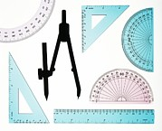 Ruler Posters - Geometry Set Poster by Lawrence Lawry