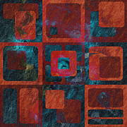 Red Abstract Metal Prints - Geomix 02 - sp07c03b Metal Print by Variance Collections