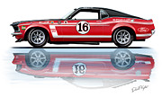 Motorsports Framed Prints - Geore Follmer Trans Am Mustang Framed Print by David Kyte