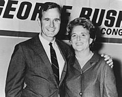 Campaigns Posters - George And Barbara Bush In Houston Poster by Everett