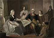 First Family Framed Prints - George And Martha Washington Sitting Framed Print by Everett
