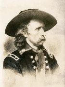 Union Army Framed Prints - George Armstrong Custer  Framed Print by War Is Hell Store