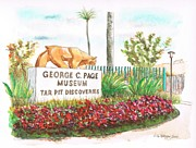 Acuarelas Paintings - George-C-Page-Museum-Los-Angeles-CA by Carlos G Groppa