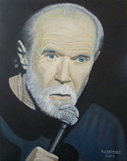 Microphone Stand Prints - George Carlin Print by Crilll Cracraft
