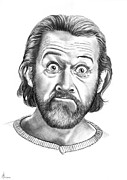Celebrity Drawings - George Carlin by Murphy Elliott