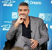 Four Seasons Hotel Framed Prints - George Clooney At The Press Conference Framed Print by Everett