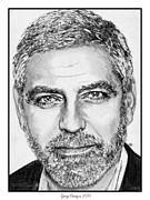 Greyscale Drawings - George Clooney in 2009 by J McCombie