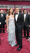 Academy Awards Prints - George Clooney, Sarah Larson Wearing Print by Everett