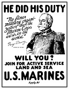 One Mixed Media Posters - George Dewey US Marines Poster by War Is Hell Store