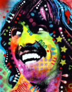Ringo Starr Painting Metal Prints - George Harrison Metal Print by Dean Russo