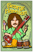 British Invasion Framed Prints - George Harrison Framed Print by John Goldacker