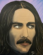 Beatles Mixed Media Originals - George Harrison  The Mystic by Edward Pebworth
