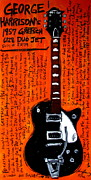 Iconic Guitars Painting Originals - George Harrisons Gretsch by Karl Haglund