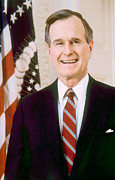 President Bush Prints - George Herbert Walker Bush, American Print by Everett