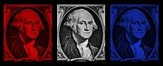 U S Founding Father Prints - GEORGE in RED WHITE n BLUE Print by Rob Hans