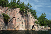 Granite Bedrock Photos - George Lake by Ted Kinsman