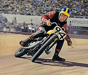 Motorcycle Racing Framed Prints - George Roeder - 1965 Framed Print by James Robertson