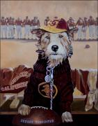 Mascot Painting Prints - George Tirebiter Print by Debra Freeman