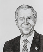 11 Wtc Drawings Metal Prints - George W. Bush Metal Print by Daniel Young