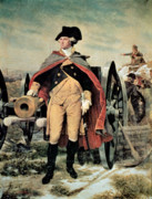 Uniform Painting Prints - George Washington at Dorchester Heights Print by Emanuel Gottlieb Leutze