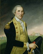 Revolutionary War Paintings - George Washington at Princeton by Charles P Polk