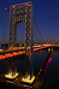 George Washington Photo Framed Prints - George Washington Bridge at Night Framed Print by ZawHaus Photography