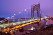 "Romantic Sky Framed Prints - George Washington Bridge Framed Print by Photography by Steve Kelley aka ""mudpig"""